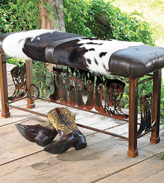 Ranch Rack Cowhide Bench