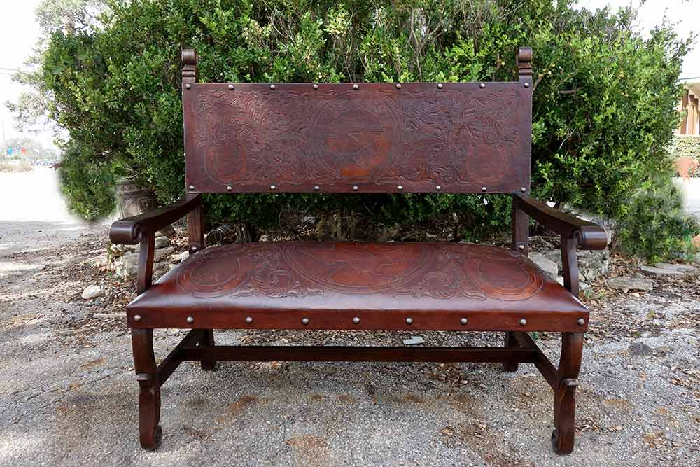 Ranch Rack Tooled Leather Western Style Benches