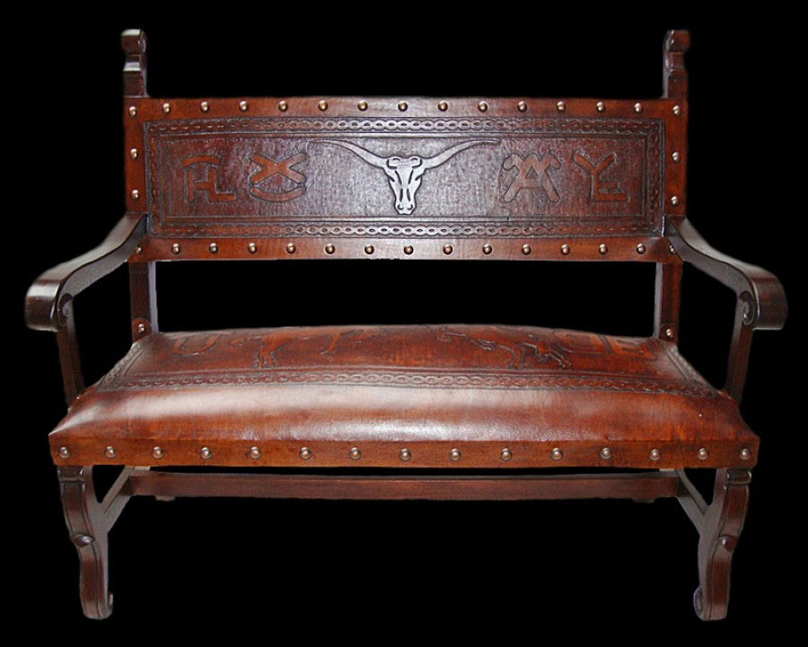 Cowboy Tooled Leather Sofa Bench from Ranch Rack