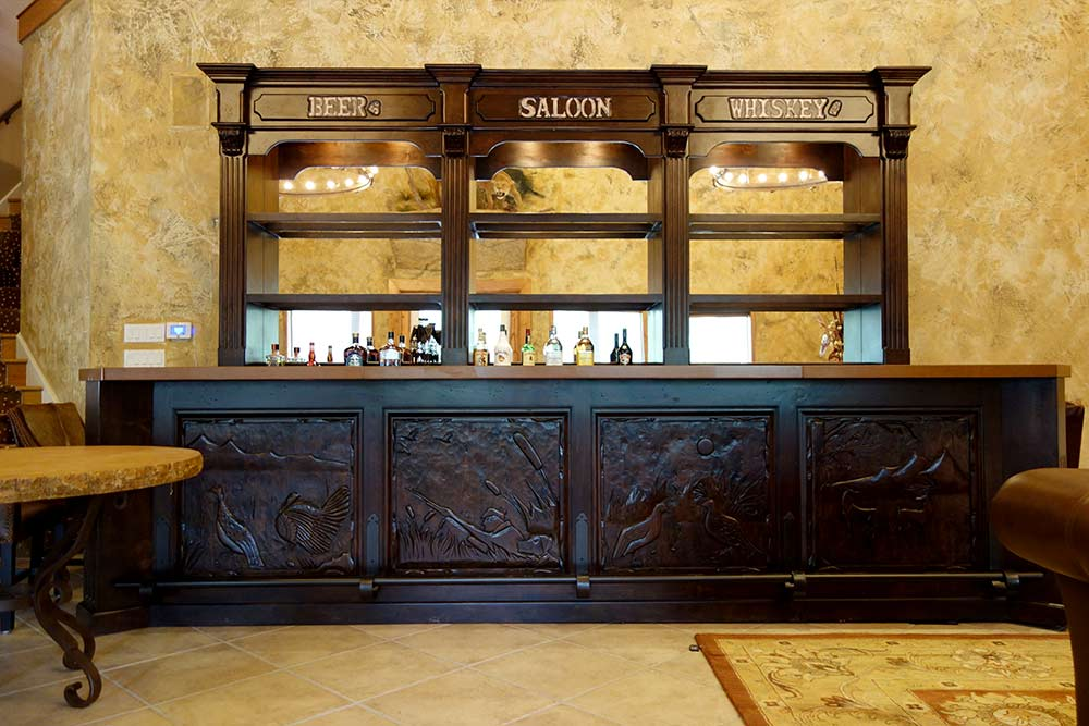 Saloon Bar with Western Accents, Custom Design from Ranch Rack, San Antonio, Texas
