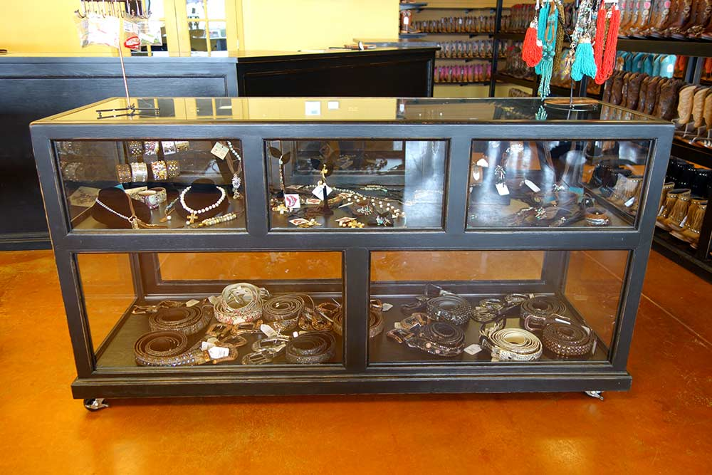 Ranch Rack Jewelry Display Cabinet in rubbed-back black finish
