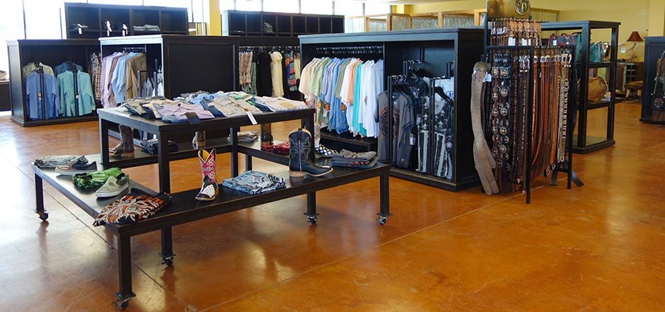 Rolling Displays for Western Wear, Shirts and Jackets, Jeans and Boots, from Ranch Rack San Antonio, Texas